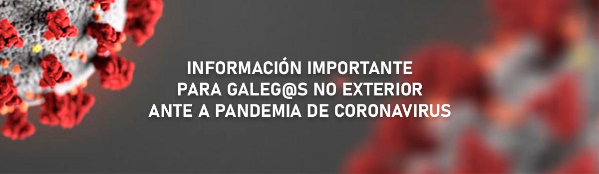 Coronavirus - Información para galeg@s residentes no exterior