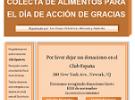 Colecta benéfica de alimentos para o Día de Acción de Grazas 2018, no Club España de Newark