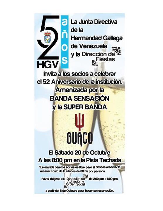 Gran Festa 52º Aniversario da Hermandad Gallega de Venezuela en Caracas