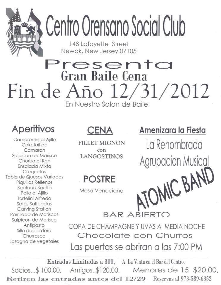 Gran baile-cena Fin de Año 2012 en el Centro Orensano Social Club de Nueva Jerse