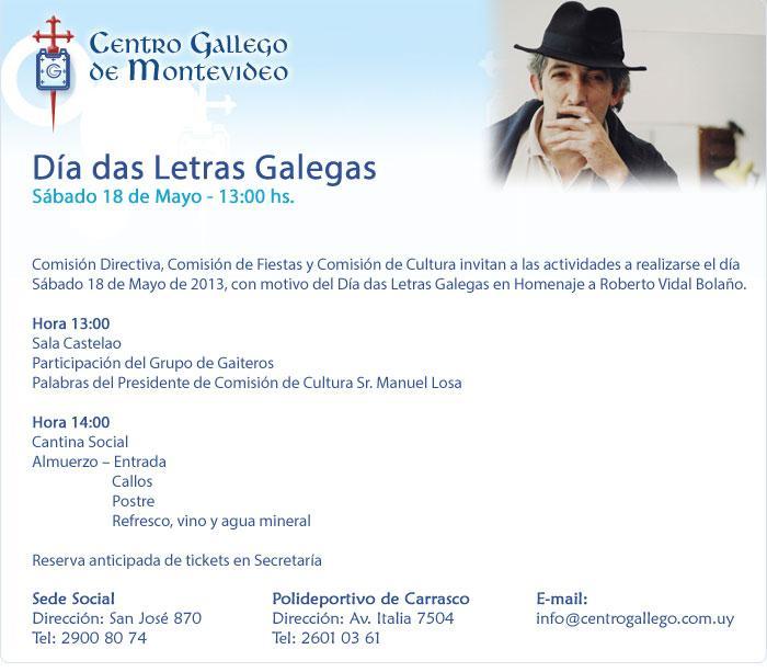 Día das Letras Galegas 2013 no Centro Gallego de Montevideo