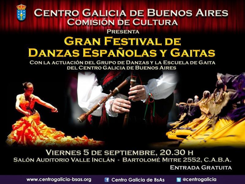 Gran festival de danzas españolas e gaitas, no Centro Galicia de Bos Aires