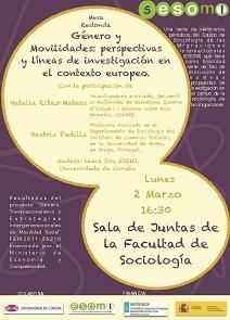 """Mesa redonda """"Xénero e Mobilidades: perspectivas e liñas de investigación no contexto europeo"""", na Coruña"""