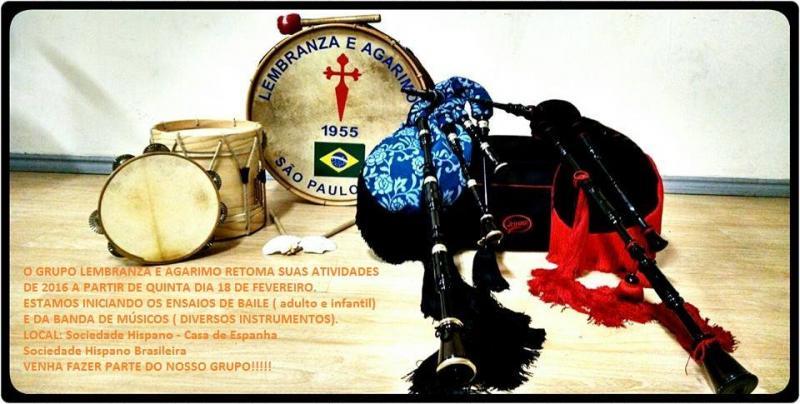 Clases de música e baile galegos no grupo 'Lembranza e Agarimo' de São Paulo