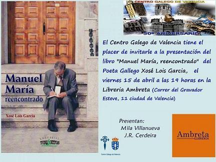"""Presentación del libro """"Manuel María. Reencontrado"""", en Valencia"""
