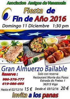 Xantar bailable Fin de Ano 2016 da Asociación de Amigos de Venezuela en Vigo