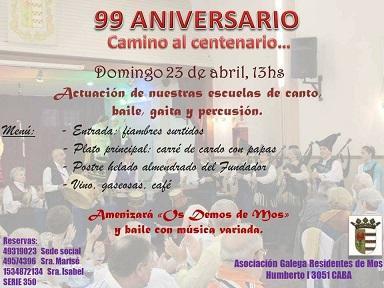 99º Aniversario da Asociación Galega Residentes de Mos en Bos Aires