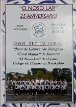 Recital - 25º aniversario da Coral 'O Noso Lar' do Centro Galego de Biscaia en Barakaldo