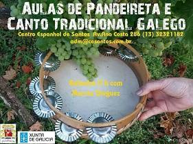 Clases de pandeireta e canto tradicional galego 2018, no Centro Espanhol de Santos