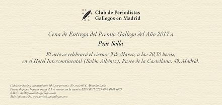 Entrega do 'Premio Galego do Ano 2017' a Pepe Solla, en Madrid