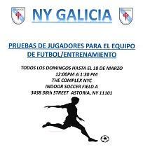 Probas de xogadores para o equipo de fútbol da Casa Galicia de Nova York