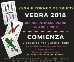 "XXXVIII Torneo de Truco ""Vedra 2018"""