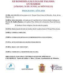 XII Romaría Galega da Federación de Asociacións Galegas en Madrid (FAGAMA) 2018, en Móstoles