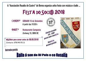 Festa do/a socio/a 2018 da Asociación 'Rosalía de Castro' de Berna