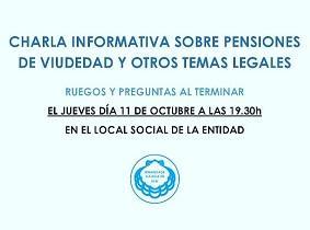 Charla informativa sobre pensións de viuvez e outros temas legais, en Rubí