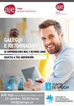 Charla informativa sobre las ayudas al retorno emprendedor de la Secretaría Xeral da Emigración, en la Asociación de Jóvenes Empresarios de Vigo