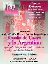 """Conferencia """"Rosalía de Castro y la Argentina"""", en Bos Aires"""