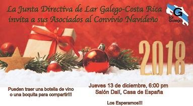 Convite do Nadal 2018 do Lar Galego de Costa Rica