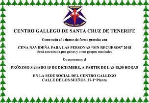 Cea do Nadal para persoas sen recursos 2018, no Centro Galego de Santa Cruz de Tenerife