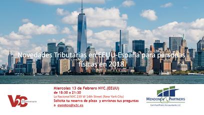 """Sesión informativa """"Novedades tributarias en EE.UU. - España para personas físicas"""", en Nova York"""