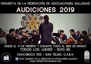 Audiciones 2019 para la Orquesta de Cámara de la Federación de Asociaciones Gallegas de la República Argentina