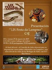 Presentación de la LIX Festa da Lamprea de Arbo, en el Centro Galego de Lisboa