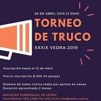 "XXXIX Torneo de Truco ""Vedra 2019"""