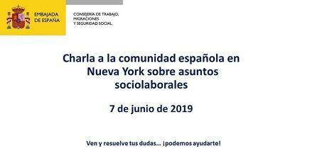 Charla á comunidade española en Nova York sobre asuntos sociolaborais