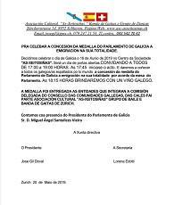 Celebración da concesión da medalla do Parlamento de Galicia 2019 á emigración galega, en Zürich