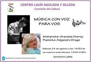 """Concerto """"Música con voz para vos"""", no Centro Lalín, Agolada e Silleda de Bos Aires"""