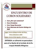 Encontro de coros solidario a prol de La Noche de la Caridad, no Centro Galego de Mar del Plata