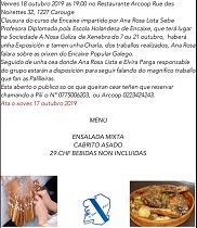 Clausura del taller de encaje de bolillos 2019 de A Nosa Galiza de Ginebra