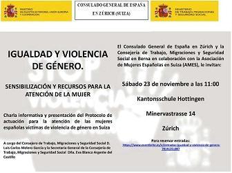 Charla informativa 'Igualdad y violencia de género. Sensibilización y recursos para la atención a la mujer', en Zürich