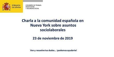 Charla informativa a la comunidad española en Nueva York sobre asuntos sociolaborales