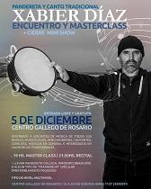 Masterclass de canto e instrumentos tradicionais de percusión e concerto-demostración de Xabier Díaz, no Centro Galego de Rosario