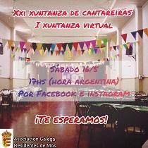 XXIª Xuntanza de Cantareiras (Iª Xuntanza Virtual) da Asociación Galega Residentes de Mos en Bos Aires