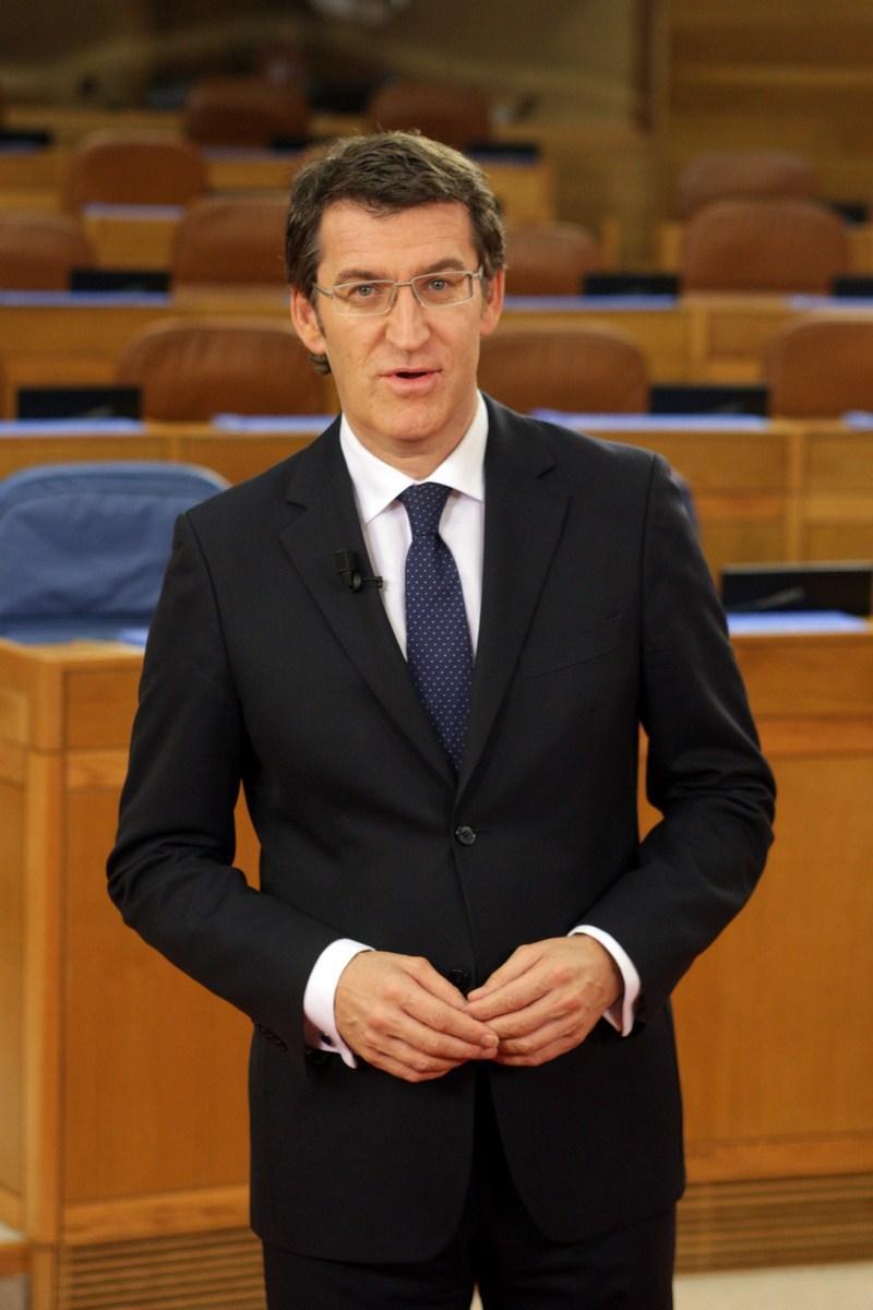 O Presidente da Xunta de Galicia durante a mensaxe de Fin de Ano 2011
