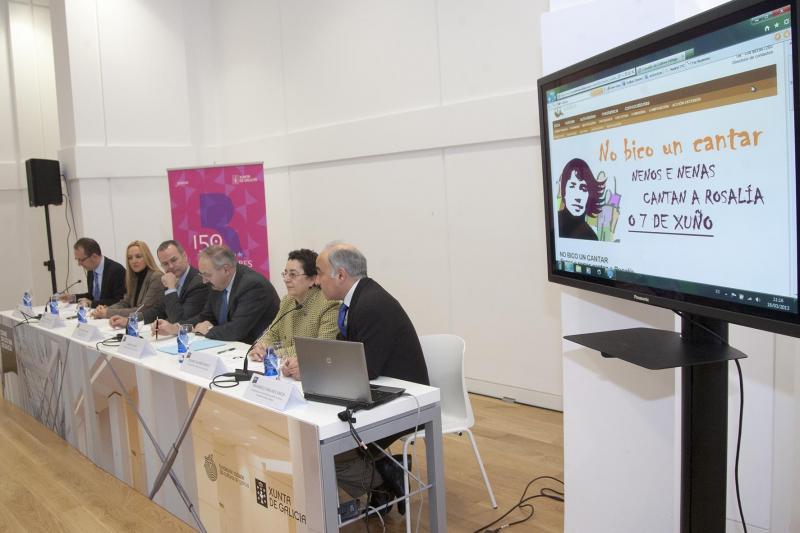Xesús Vázquez Abad presentou a actividade musical educativa 'No bico un cantar. Nenos e nenas cantan a Rosalía'. Foto: X. Crespo