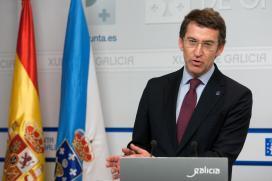 Feijóo en la rueda de prensa del Consello de la Xunta celebrado esta mañana. Foto: Ana Varela