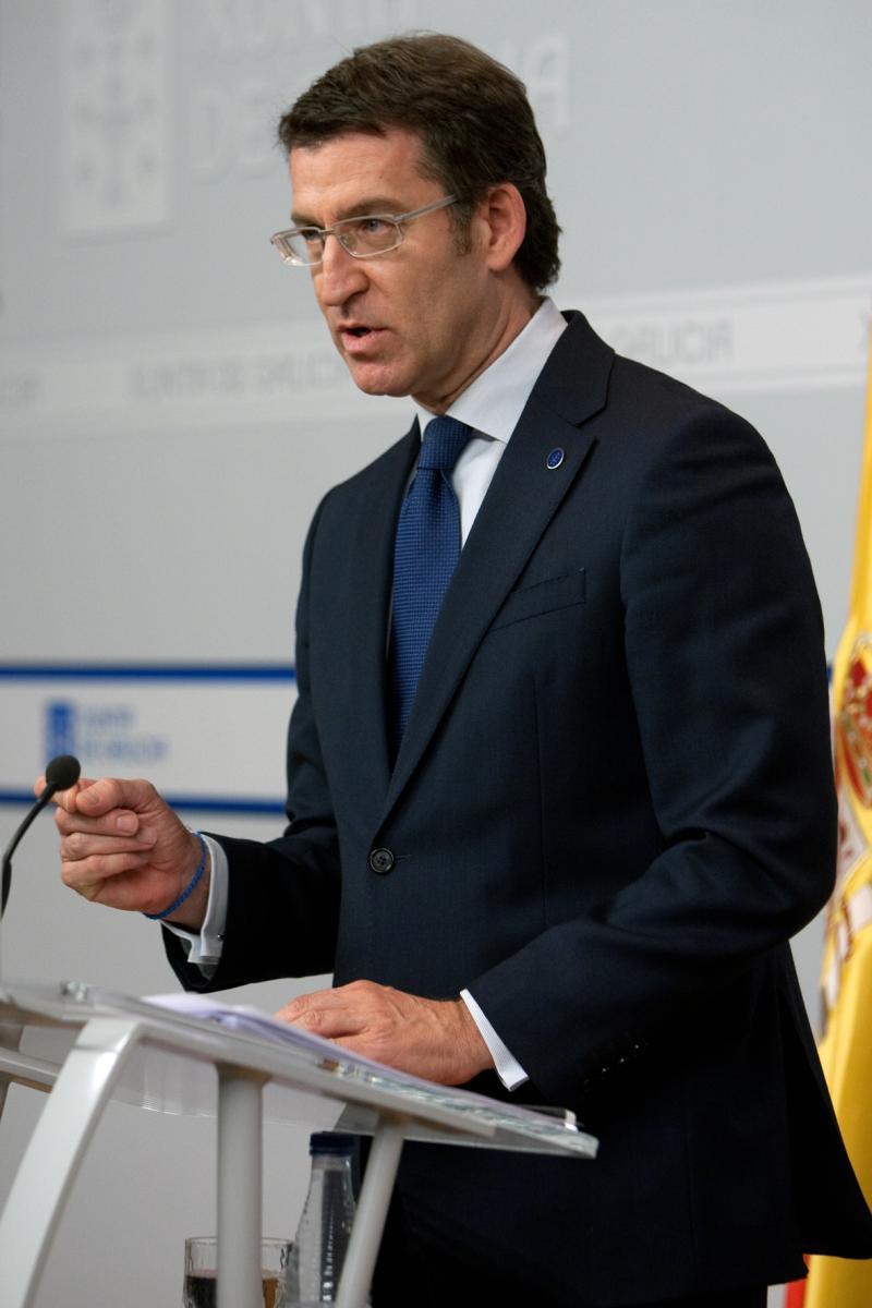 El presidente de la Xunta, en la rueda de prensa tras el Consello. Foto: Ana Varela