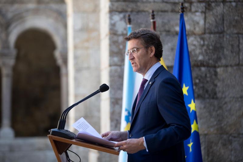 O presidente da Xunta de Galicia, durante o acto institucional de apoio á declaración da Ribeira Sacra como Patrimonio da Humanidade, por parte da Galicia Exterior