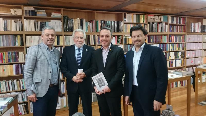 De izquierda a derecha: Valentín García, Miguel Santalices, Manoel Carrete y Antonio Rodríguez Miranda