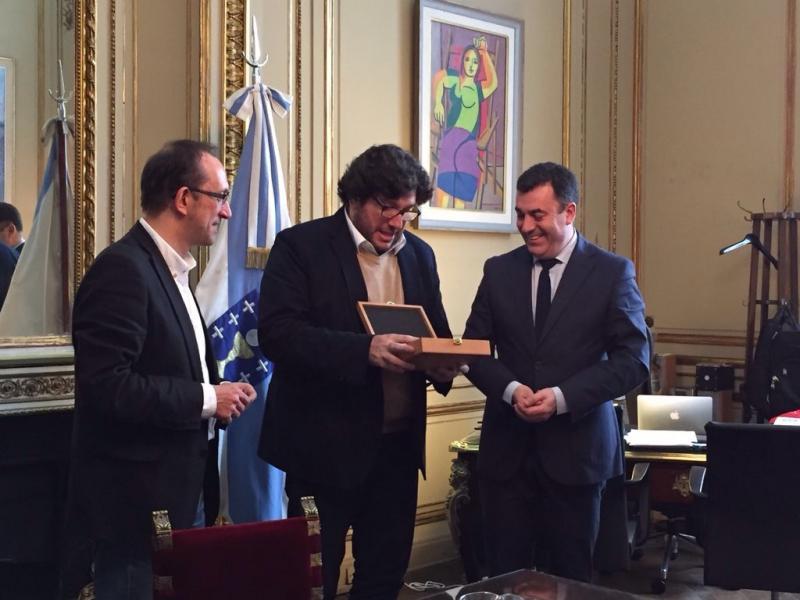 De esquerda a dereita: Anxo Lorenzo (secretario xeral de Cultura), Pablo Avelluto (ministro de Cultura da Nación Arxentina) e Román Rodríguez (conselleiro de Cultura, Educación e Ordenación Universitaria)