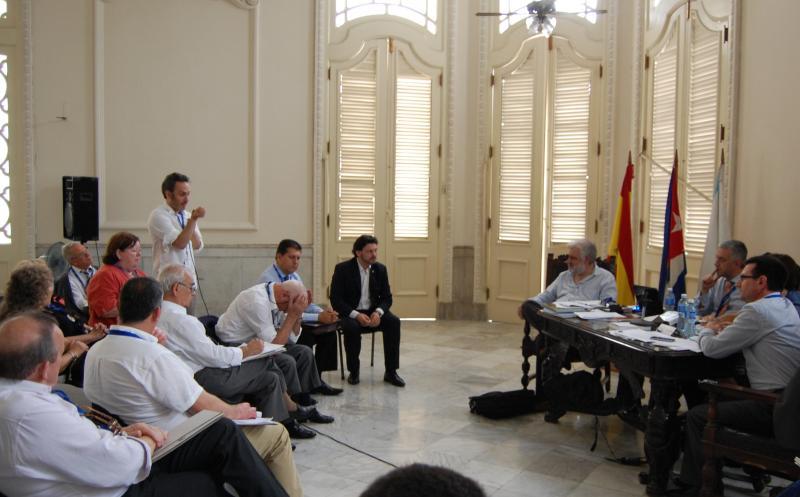 O relatorio de Cultura tivo lugar no histórico Salón da Federación de Sociedades Galegas do Palacio do Centro Galego da Habana