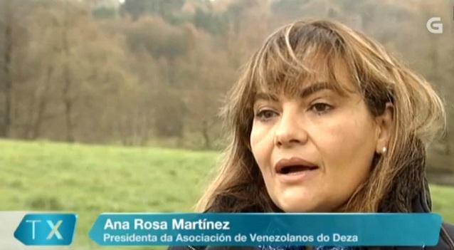Ana Rosa Martínez Ferradás, presidenta da Asociación de Venezolanos do Deza, en declaracións á Televisión de Galicia
