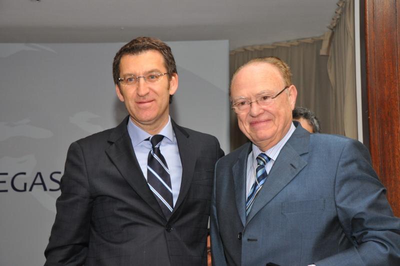 Na imaxe, Fernando Amarelo de Castro e Alberto Núñez Feijóo no IX Pleno do Consello de Comunidades Galegas celebrado en Montevideo