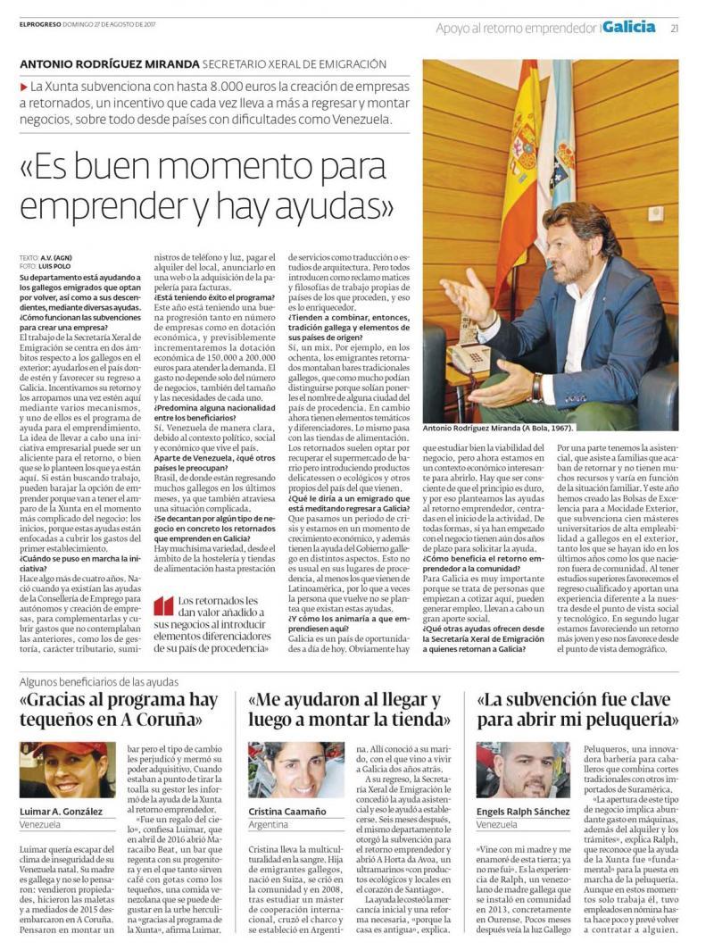 Edición deste domingo do xornal lucense 'El Progreso'
