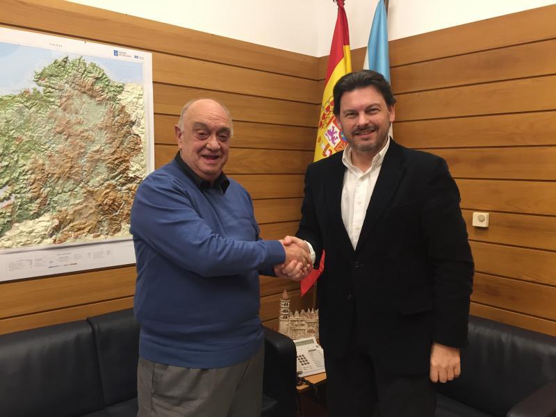 Manuel López Fernández e Antonio Rodríguez Miranda, durante o encontro que tivo lugar en Santiago de Compostela