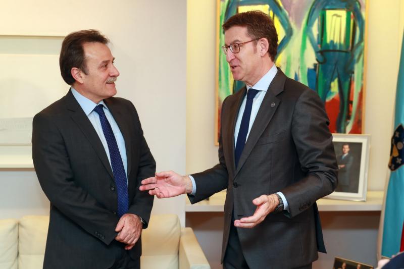 Machín y Feijóo, durante la reunión