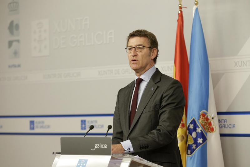El presidente de la Xunta en la rueda de prensa posterior al Consello